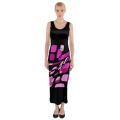 Purple Abstraction Fitted Maxi Dress