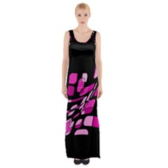 Purple Abstraction Maxi Thigh Split Dress