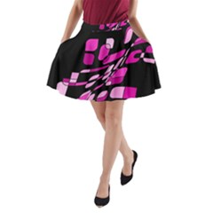 Purple Abstraction A Line Pocket Skirt