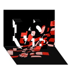 Orange abstraction LOVE 3D Greeting Card (7x5)
