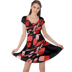Orange abstraction Cap Sleeve Dresses