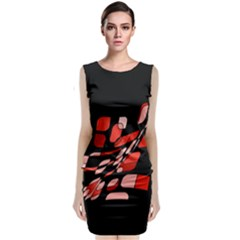 Orange Abstraction Classic Sleeveless Midi Dress