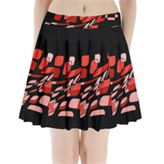 Orange Abstraction Pleated Mini Mesh Skirt