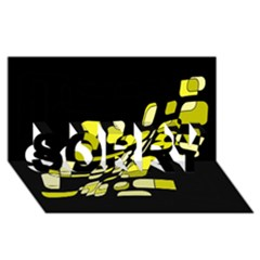 Yellow abstraction SORRY 3D Greeting Card (8x4)
