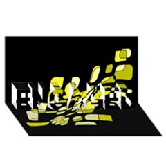 Yellow Abstraction Engaged 3d Greeting Card (8x4)