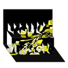 Yellow abstraction You Rock 3D Greeting Card (7x5)