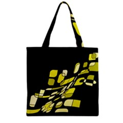 Yellow abstraction Zipper Grocery Tote Bag
