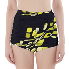 Yellow abstraction High-Waisted Bikini Bottoms