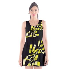 Yellow abstraction Scoop Neck Skater Dress