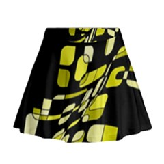 Yellow Abstraction Mini Flare Skirt