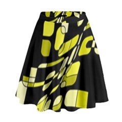 Yellow Abstraction High Waist Skirt