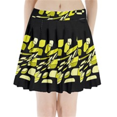 Yellow abstraction Pleated Mini Mesh Skirt