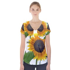 Sunflower Overload Short Sleeve Front Detail Top