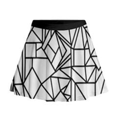 Black Lines Mini Flare Skirt