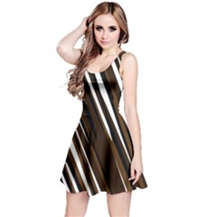 Black Brown And White Camo Streaks Reversible Sleeveless Dress