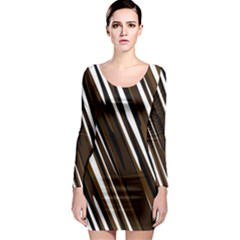 Black Brown And White Camo Streaks Long Sleeve Bodycon Dress