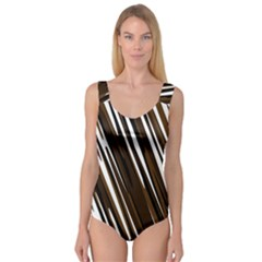 Black Brown And White Camo Streaks Princess Tank Leotard
