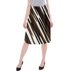 Black Brown And White Camo Streaks Midi Beach Skirt
