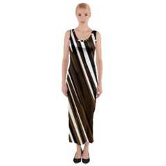 Black Brown And White Camo Streaks Fitted Maxi Dress