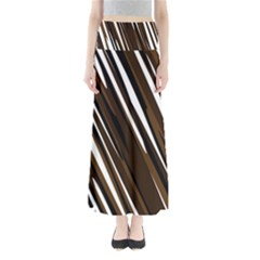 Black Brown And White Camo Streaks Maxi Skirts