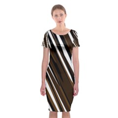 Black Brown And White Camo Streaks Classic Short Sleeve Midi Dress