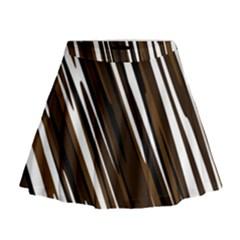 Black Brown And White Camo Streaks Mini Flare Skirt