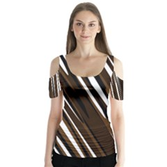 Black Brown And White Camo Streaks Butterfly Sleeve Cutout Tee