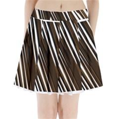 Black Brown And White Camo Streaks Pleated Mini Mesh Skirt