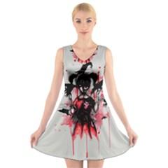This Is Fine...  V-Neck Sleeveless Skater Dress