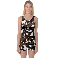 Black Brown And White camo streaks One Piece Boyleg Swimsuit