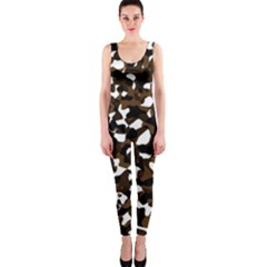Black Brown And White camo streaks OnePiece Catsuit