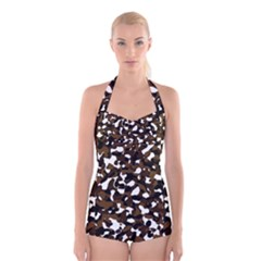 Black Brown And White camo streaks Boyleg Halter Swimsuit