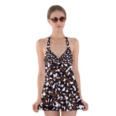 Black Brown And White camo streaks Halter Swimsuit Dress