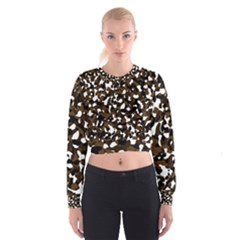 Black Brown And White Camo Streaks Women s Cropped Sweatshirt