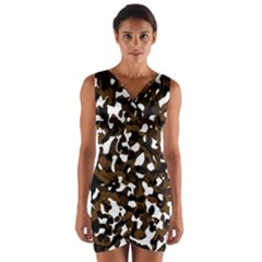 Black Brown And White camo streaks Wrap Front Bodycon Dress