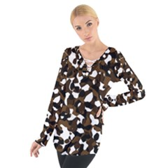 Black Brown And White camo streaks Women s Tie Up Tee