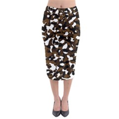 Black Brown And White camo streaks Midi Pencil Skirt