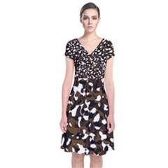 Black Brown And White camo streaks Short Sleeve Front Wrap Dress