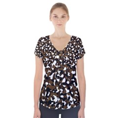 Black Brown And White camo streaks Short Sleeve Front Detail Top
