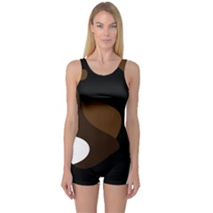 Black Brown And White Abstract 3 One Piece Boyleg Swimsuit