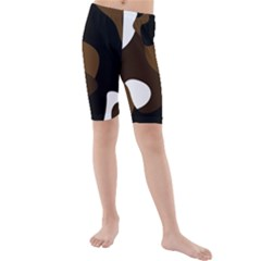 Black Brown And White Abstract 3 Kid s Mid Length Swim Shorts