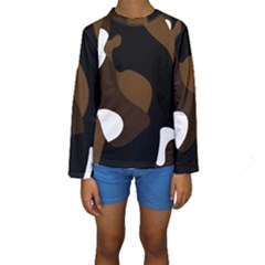 Black Brown And White Abstract 3 Kid s Long Sleeve Swimwear