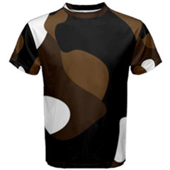 Black Brown And White Abstract 3 Men s Cotton Tee