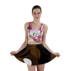 Black Brown And White Abstract 3 Mini Skirt