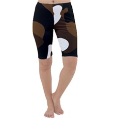 Black Brown And White Abstract 3 Cropped Leggings