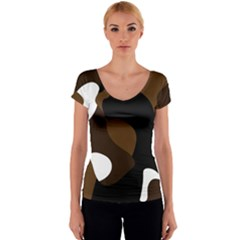 Black Brown And White Abstract 3 Women s V-Neck Cap Sleeve Top