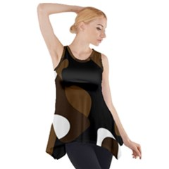 Black Brown And White Abstract 3 Side Drop Tank Tunic