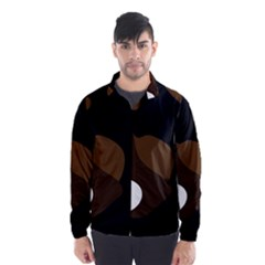 Black Brown And White Abstract 3 Wind Breaker (Men)