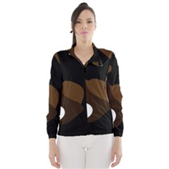 Black Brown And White Abstract 3 Wind Breaker (Women)