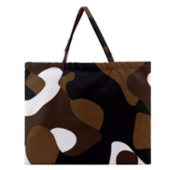 Black Brown And White Abstract 3 Zipper Large Tote Bag